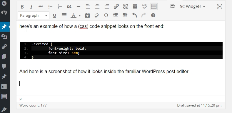 This shows the live preview inside the WordPress editor displaying my css code snippet